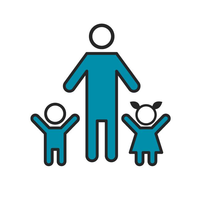 Das Icon fasst alle Beiträge zu Kindern zusammen.