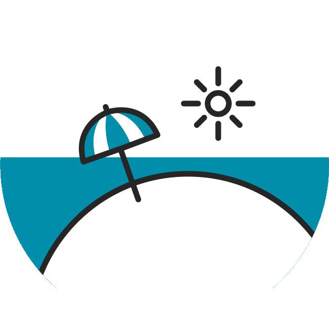 Das Icon fasst alle Beiträge zur Haut im Sommer zusammen.